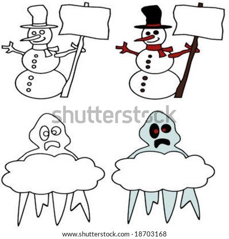 vector of a snowman and ghost with signs