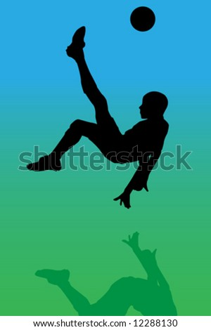 Vector of a soccer player making a overhead kick - stock vector