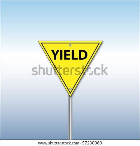 Vector of a yield sign on a blue background - stock vector