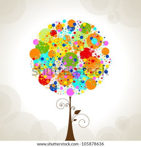 Vector of Abstract Colorful Tree - stock vector