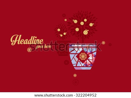 Vector of abstract oriental background - stock vector