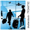 Vector of airline passengers - stock photo