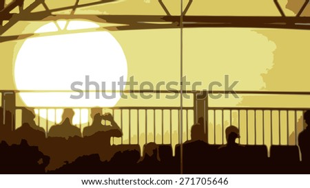 Vector of an Evening Sunset with People Sitting in the foreground - stock vector