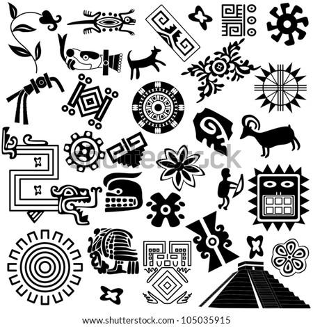 vector ancient american design elements on stock vector 105035915 shutterstock. Black Bedroom Furniture Sets. Home Design Ideas