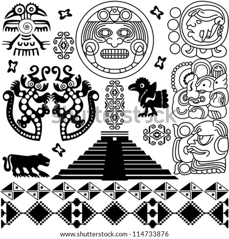 Vector of ancient american design elements on white