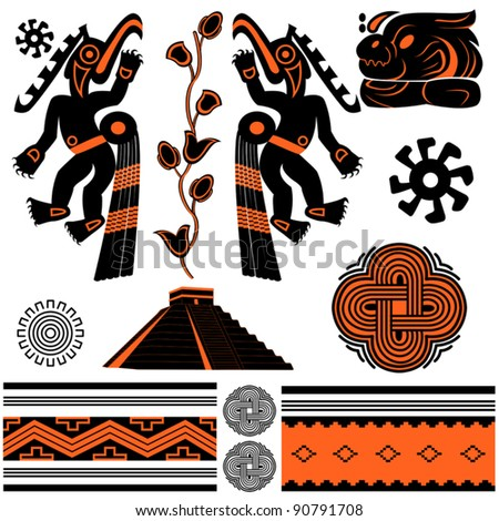 Vector of ancient american ornaments and pyramid - stock vector