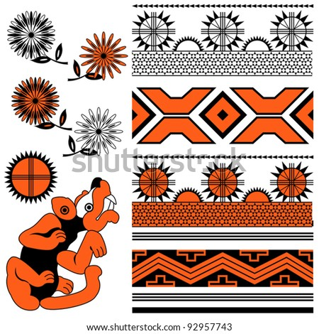 Vector of ancient american ornaments with animal and flowers - stock vector