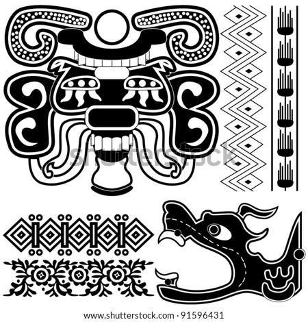Vector of ancient american patterns with ornaments and gods - stock vector