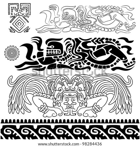 Vector of ancient patterns with mayan gods and ornaments - stock vector