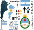 Vector of Argentina set with detailed country shape with region borders, flags and icons - stock photo