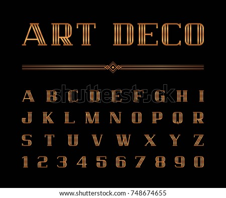 Vector Of Art Deco Font And Alphabet Gold Letters Set The Great Gatsby Style