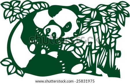 Vector of Artistic Chinese Panda Pattern - stock vector