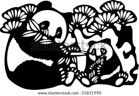 Chinese Panda Vector Vector of Artistic Chinese