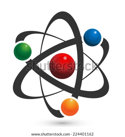 Vector of atom icon illustration in vivid colors - stock vector