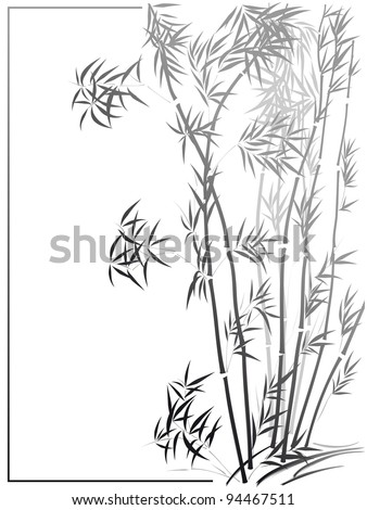 Vector of Bamboo in the Asian style drawn by ink in frame.