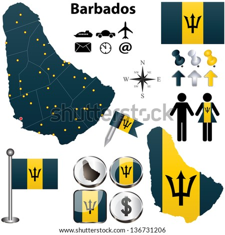 Map of barbados stock photos images pictures for Barbados flag coloring page