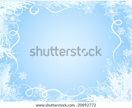 vector of beautiful winter frame on blue background - stock vector
