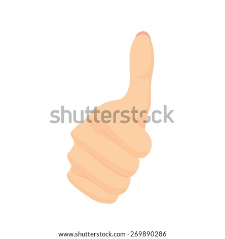"""Vector of beautiful Woman's hand gesturing """"thumbs up"""" isolated on white background  - stock vector"""