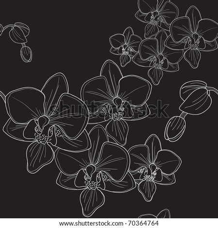 Vector of black seamless pattern with orchid - stock vector