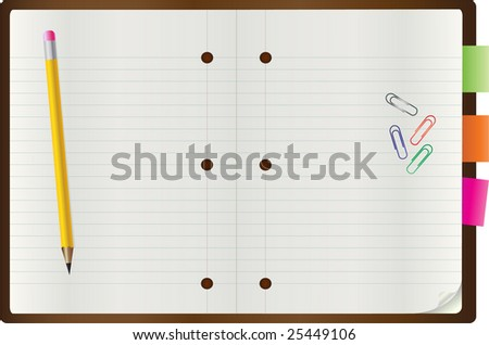 Vector of blank notepad with a pen and paper clips - stock vector