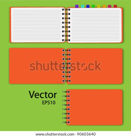 vector of blank open notepad on light color background. - stock vector