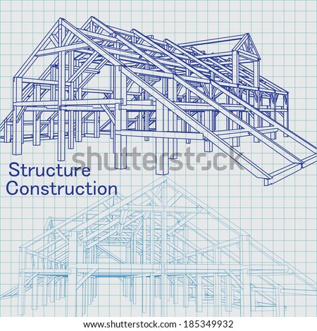 Vector of Blue print architect - stock vector