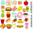 Vector of Breakfast and Lunch - cereal, bread, juice, fruit, pie, pancake, sandwich, jam. A set of cute and colorful icon collection isolated on white background - stock vector