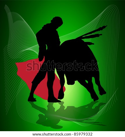 vector of bulls and bullfighters with red cape