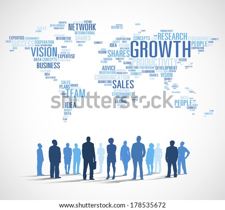 Vector of Business Growth with World Map - stock vector