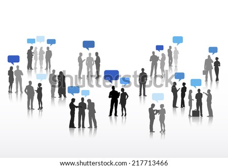 Vector of Business People Discussing with Speech Bubbles - stock vector