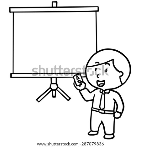 vector of businessman and projector screen