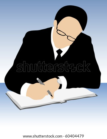 Vector of  businessman with pen eyeglasses, suit and tie signing contract on blue background. - stock vector