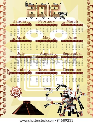 Vector of Calendar 2012 in mayan style with god - stock vector
