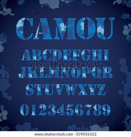 Vector of camouflage typography and font set - stock vector