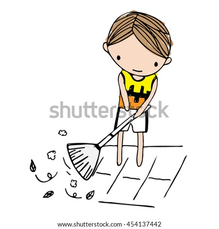 Vector of cartoon boy sweeping leaves on floor