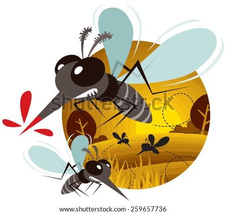 Vector of Cartoon Mosquito  - stock vector