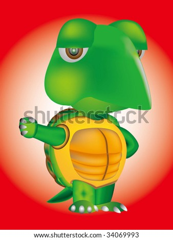 vector of cartoon turtle - stock vector