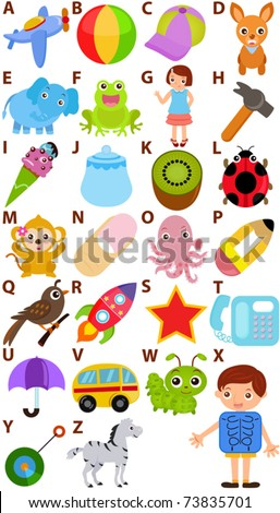 Vector of cartoons Alphabet A to Z, simple dictionary for Kids. A set of cute and colorful back to school icon collection isolated on white background - stock vector