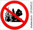 Vector of caution sign with forest fire - stock photo