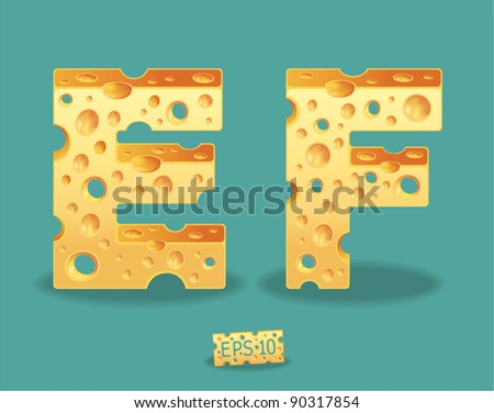 Vector of Cheese Alphabet - stock vector