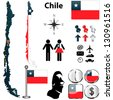 Vector of Chile set with detailed country shape with region borders, flags and icons - stock vector