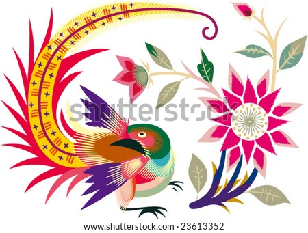 Vector of Chinese Traditional Bird and Flower  Pattern - stock vector