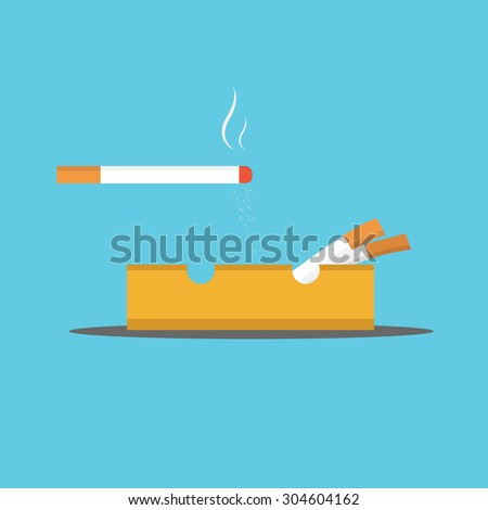 Vector of cigarette and Ashtray - stock vector