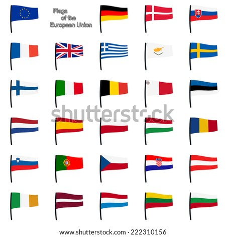 vector of collection of european union flags - stock vector