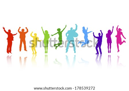 Vector of Colorful Business People Celebrating - stock vector