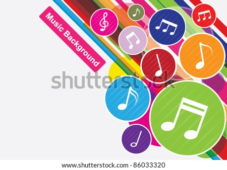 vector of colorful music notes background - stock vector