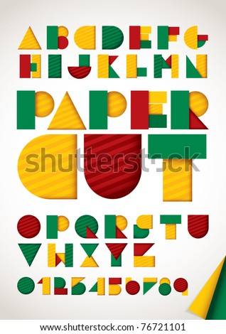 vector of colorful paper alphabet - stock vector