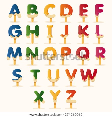 Vector of Colorful Popsicle alphabets : Vector Illustration - stock vector
