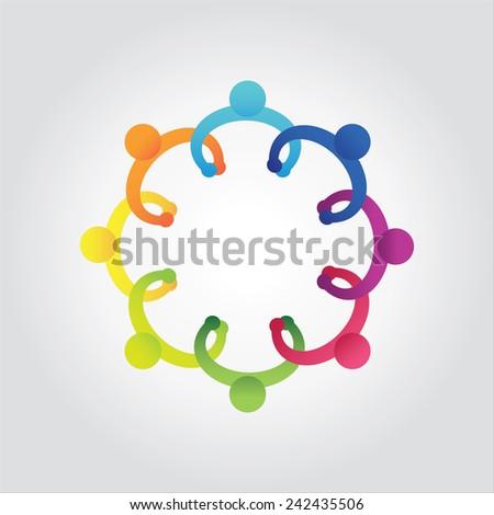 vector of colorful school people,kids holding hands - stock vector