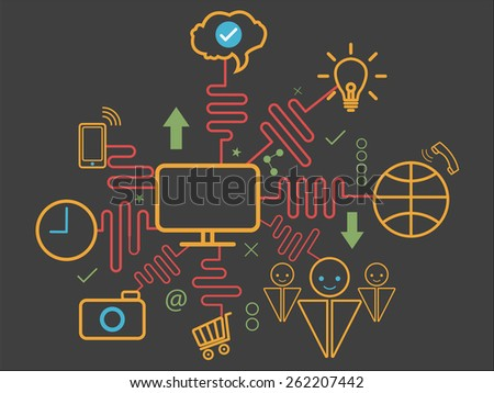 Vector of Computer digital marketing network .line style - stock vector